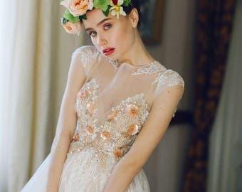 short wedding dress, FIBI, A line wedding dress, A-line style, Simple style,   romantic dress, Romantic bridal gown, elegant wedding