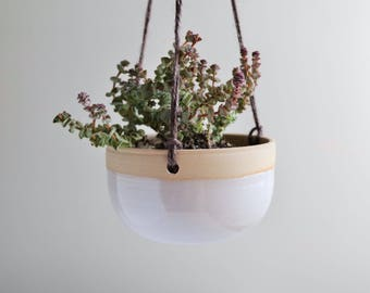 Handmade Hanging Planter in Chalky White - Ready to Ship