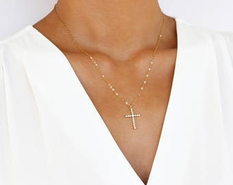 Cross Necklace, Gold Cross Necklace, Gold Layering Necklace, Layered Cross Necklace, Big Cross Necklace, Crucifix Necklace, Gift for her