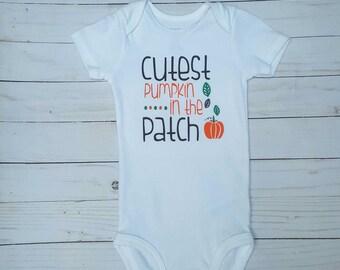 Cutest Pumpkin in the Patch Baby Boy Shirt- fall shirt for boy, baby bodysuit, happy fall yall, thanksgiving shirt boy, halloween pumpkin