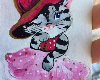 Aceo original acrylic painting cute mini painting