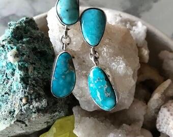Vintage Native American Indian style turquoise earrings, Southwest earrings, turquoise and sterling silver earrings, tribal boho earrings