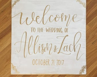 Wedding Welcome Sign - Classic White and Gold
