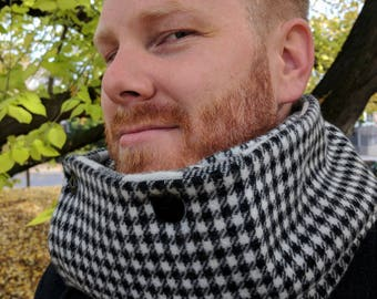 Black and White Reversible Check Woollen Button Up Scarf