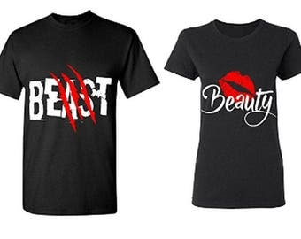 Beast & Beauty Couple T-Shirts - His And Hers Shirts Boyfriend - Girlfriend Matching Tees ( Comes 2 T-Shirts Men-Women)