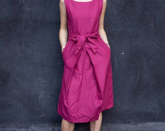 Riley plum woven double pleated dress