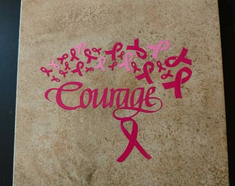"Custom made ceramic tile ""courage"""