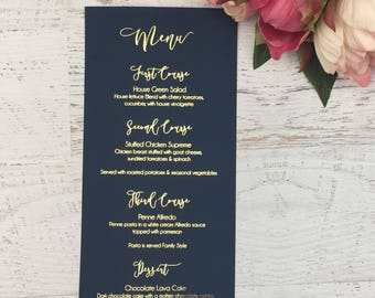 Navy Wedding Menu - Blue Wedding Menu - Wedding Menus - Gold Foil Wedding Menu - Navy and Gold Wedding - Physical Menu - Wedding Reception