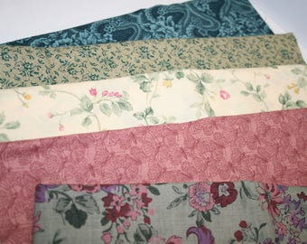 Fabric:  coordinating florals for small quilt; cotton; teal, rose, yellow; Batch #2