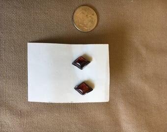 Amber earrings in sterling, diamond shaped posts