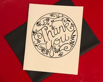 black and white hand lettered thank you card