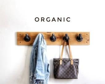 Industrial coat rack • organic coat rack • entryway coat rack • purse hook • coat rack • coat hook • solid wood coat rack • clothing hooks
