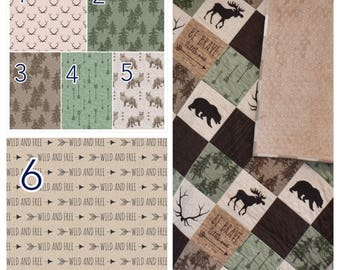 CUSTOM BEDDING - be brave little on in sage and linen, green and brown bedding, rustic woodland bedding, baby boy nursery, lumberjack, bear
