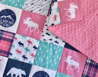 Paris Pink and Mint Moose Adventure quilt, minky quilt, woodland nursery, girl nursery, adventure, modern nursery, pink, navy