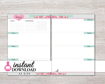A5 Planner Printable - Weekly Inserts - Sunday or Monday Start - Undated - Filofax A5 - Kikki K Large - Design: Flirty Girl