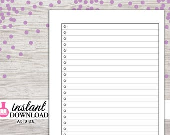 A5 Planner Printable - Lists - Filofax A5 - Kikki K Large - LV GM - Design: Wanderlust