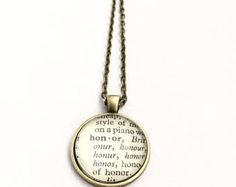 HONOR Vintage Dictionary Word Pendant