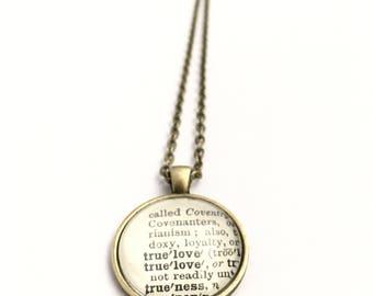 TRUE LOVE Vintage Dictionary Word Pendant