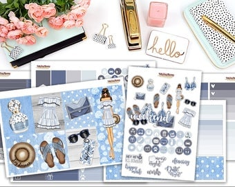 Dreamin' in Denim - planner sticker kit - Erin Condren vertical - Happy Planner - weekly sticker Kit - fashionista - blue jeans