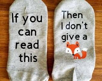 I don't give a fox socks, Funny socks, If you can read this I don't five a fox, fox socks, Funny fox gift, Fox Pun, Zero fox given