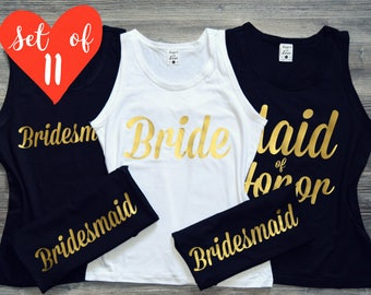 11 Bridesmaid Shirts, 11 Bride Shirts, Bridesmaid Shirts Set, 11 Brides Maid Shirts, Bridesmaids Shirts Set, Bride Shirts, 11 Bride's Squad