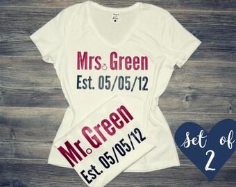 Custom Couples Shirts, Custom Couple Shirts, Custom Matching Shirts, Custom Mr Mrs Shirts, Custom Wedding Shirts, Custom His and Hers Shirts