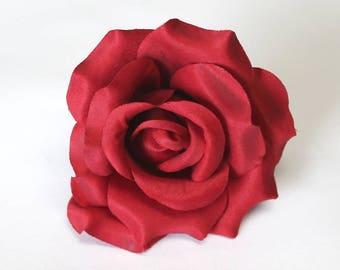 Silk Rose Heads, 12pcs, Red Artificial Flowers