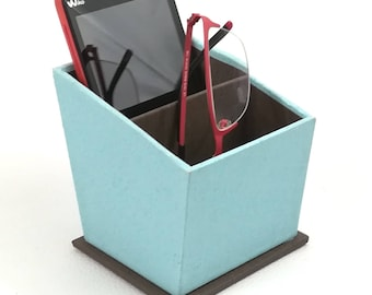 Phone/glasses/camera in turquoise and Brown CARDBOARD BACKING