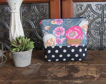 Medium Gusset Make Up Bag, Pink and Gray Floral and Navy Dots, Zipper Pouch, Travel Bag, Purse Size Make Up Bag, Zipper Storage Bag