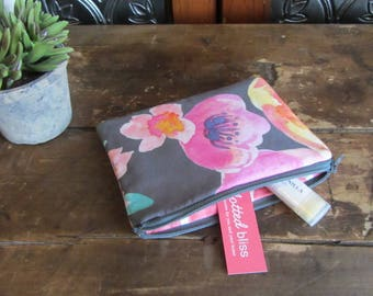 Small Watercolor Floral Zipper Bag, Mini Zip Bag, Coin Purse, Medicine Bag, Phone Case, Baby Storage