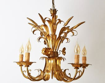 Hollywood Regency Chandelier with gilt wheat, flowers and leafs, Banfi Firenze, 1960s, interior design, home decor, gold plated ceiling lamp