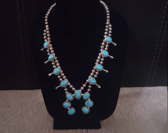 Native American Navajo Turquoise Sterling Silver Squash Blossom Necklace Signed