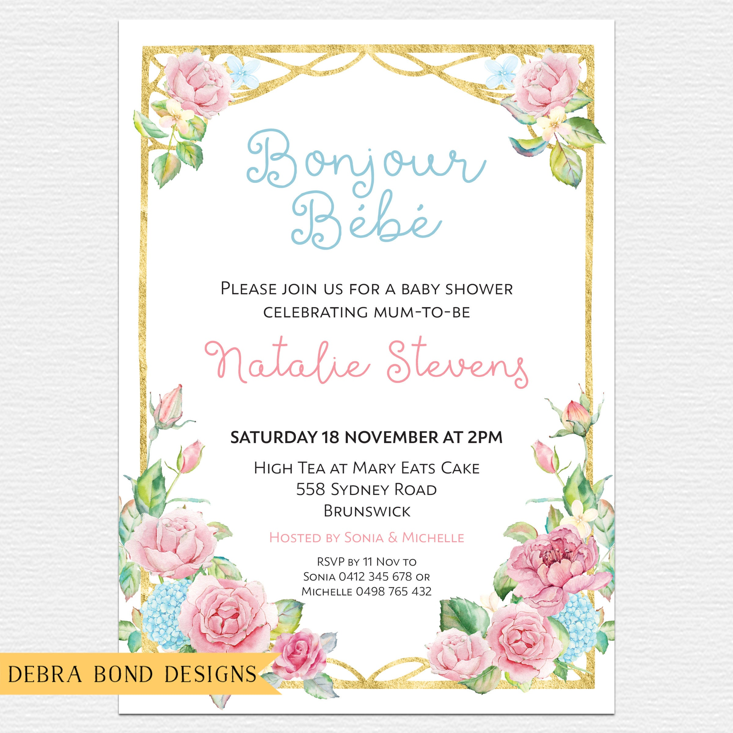 Baby shower invitation, French bonjour bebe, French baby shower ...