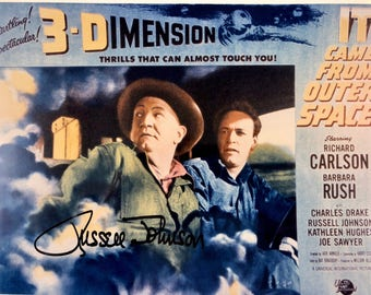 Signed Picture, It Came From Outer Space, Russell Johnson, 8x10 Autographed Vintage Sci Fi Photo of Lobby Card, Certificate of Authenticity