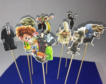 Hotel Transylvania cupcake toppers, party supplies transylvania , printed both sides in heavy paper, hotel transylvania party
