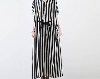 Summer chiffon dress long cotton blouse bat-wing maxi dress oversize caftan tunic dress plus size clothing