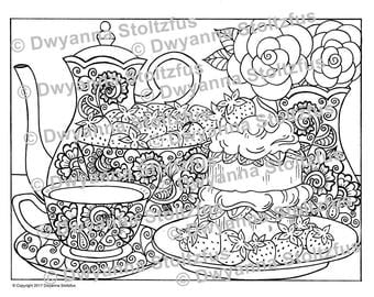 Tea and Strawberry Shortcake Coloring Page JPG