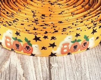 Boo ribbon - Halloween ribbon - Pumpkin ribbon - Ghost ribbon - Halloween crafts - Grosgrain ribbon - Holiday ribbon - Fall ribbon