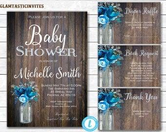 Rustic Baby Shower Invitation, Baby Shower Template, Baby Shower Template, Country Baby Shower, Baby Shower Package Template, DIY, Blue Baby