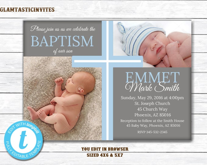 Baptism Invitation Boy, Baptism Invitation Printable, Boy Baptism Invitation, Printable Baptism Invitation, You Edit, DIY, TEMPLATE, Cross