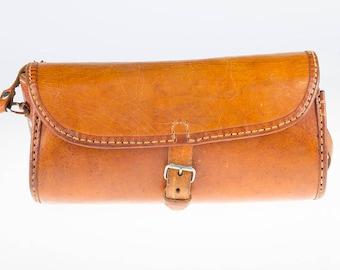 Vintage Cognac Brown Leather Round Shoulder Bag