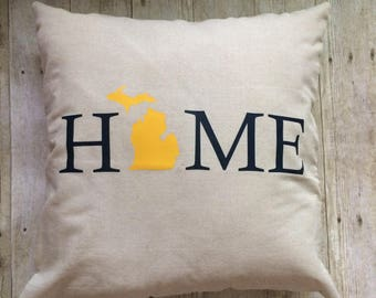 Michigan pillow- Michigan home pillow- University of Michigan colors- Blue and Gold pillow- Michigan decor- Michigan gift- Wolverines