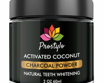 Prostylo Teeth Whitening Powder - Formulated with Coconut Activated Charcoal, Mint Flavor 60ml