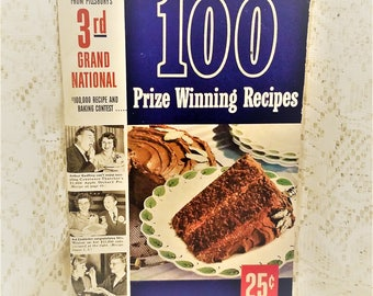 1952 Pillsbury 3rd Grand National Cookbook, 1st Edition, 100 Prize Winning Recipes, Recipe Booklet, Vintage Recipes, Baking Recipes