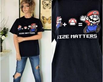 90s Mario Brothers T shirt size M / L retro 90s gamers tee shirt Nintendo T shirt level up Mario bros cotton t shirt SunnyBohoVintage
