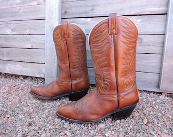 Vintage 70s Acme boots 10 D / 1970s brown western cowboy boots made in USA / GravelStreetVintage