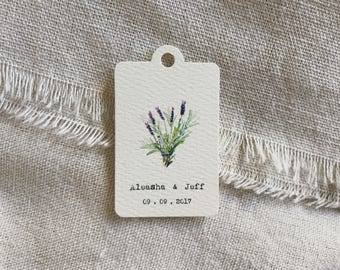 Personalized Gift Tag - Garden favor tag - Wedding favor tag - Shower favor tag - Lavender tag -Thank you tag -botanical garden herb wedding