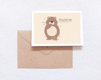 Honey Bear Miss You Greeting Card