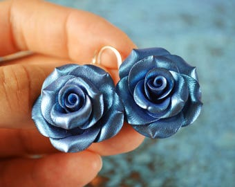 Polymer Clay Earrings. Rose Earrings. Metallic Blue Roses. Flower Earrings. Dangle Earrings. Gift for Her. Handmade Jewelry
