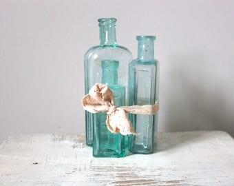 3 Small Vintage Glass Medicine Bottles / Vase